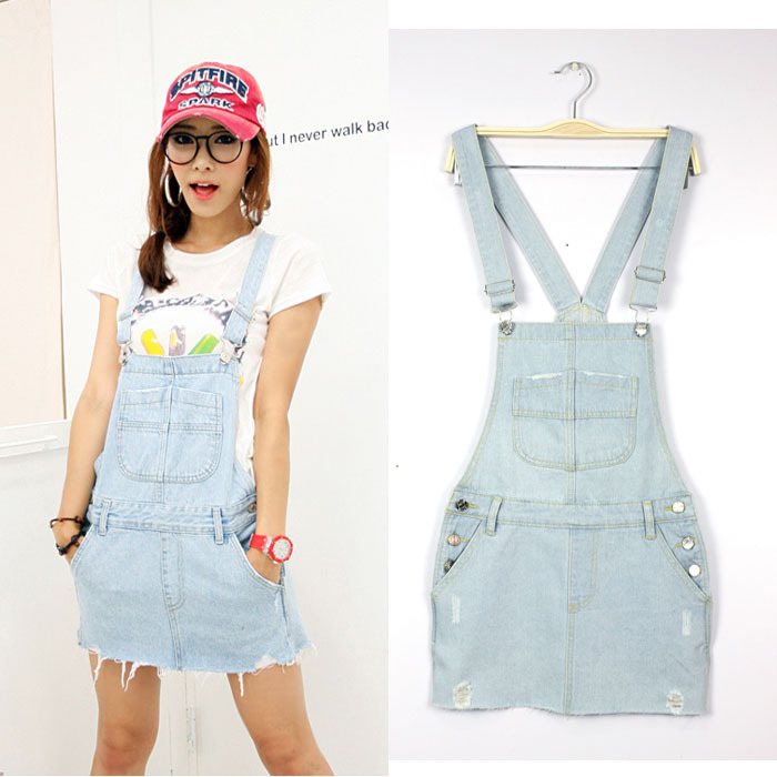 women denim overalls ladies Casual Jeans braces dress for women ...