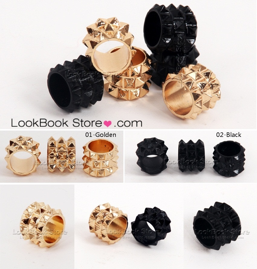 Bnw antique punk womens hedgehog pineapple surian spike studs golden black rings en vente sur ebay.fr (fin le  07
