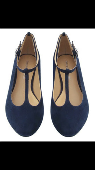 shoes flats cute blue tstrap