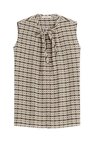 blouse sleeveless silk multicolor top