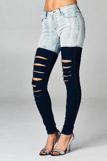Two Tone Skinny Boyfriend Jeans