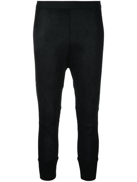 leggings women spandex cotton suede black pants