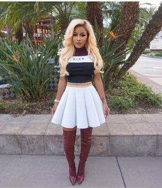 shirt burgundy white black cute fashion jai nice nice top skirt