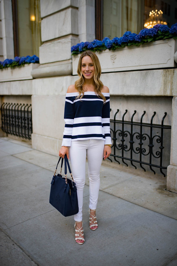 katie's bliss - a personal style blog based in nyc blogger top jeans shoes jewels blue bag off the shoulder top white jeans sandals spring outfits
