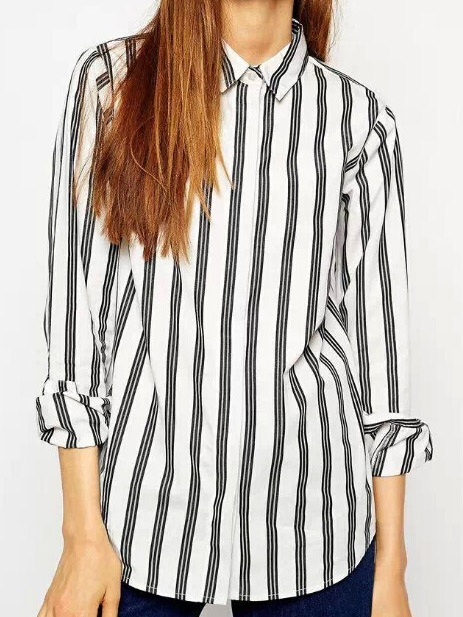 Casual black & white vertical striped long sleeve lapel blouse