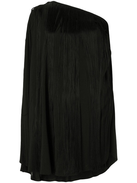 dress fringed dress women black silk