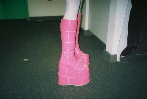 shoes boots platform shoes pink clubwear