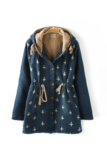 Cotton Padded Denim Coat with Hood and Print [FEBK0389]- US$59.99 - PersunMall.com