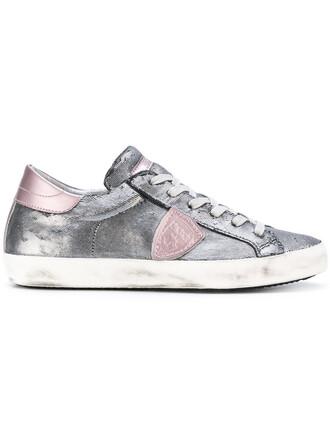 paris women sneakers leather grey metallic shoes
