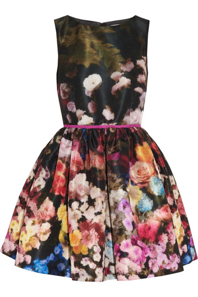 RED Valentino | Floral-print taffeta dress | NET-A-PORTER.COM