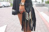 bag,leather bag,fringed bag
