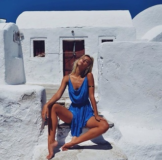 dress blue dress sunwear alexis ren greece summer long dress ocean dress summer dress royal blue dress santorini greek style spaghetti strap blue boho model summer outfits