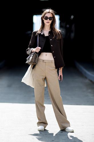 pants black jacket wide-leg pants beige pants wide leg beige pants top black top black crop top crop tops jacket sneakers sunglasses