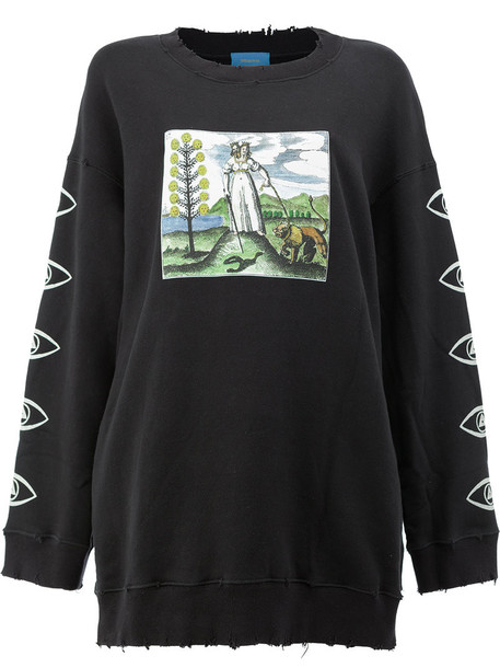 sweatshirt women cotton print black sweater