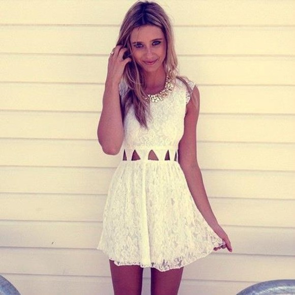 flowy short cut out jewels white dress