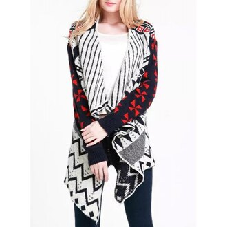 cardigan geometric aztec aztec sweater red white black knitwear knitted sweater knitted cardigan fall outfits tribal pattern tribal cardigan casual winter outfits winter sweater