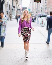 sweater,purple sweater,skirt,midi skirt,floral,floral skirt,boots,white boots,ankle boots