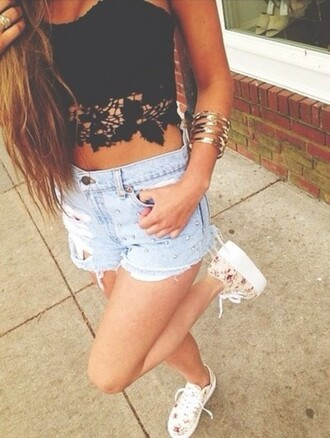 black top shorts lace denim crop tops midriff bangles high waisted shorts