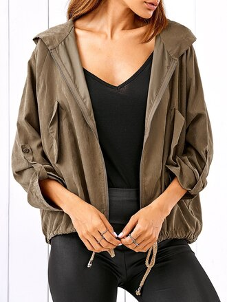 jacket zaful fall outfits fashion winter outfits style casual khaki trendy girly brown long sleeves