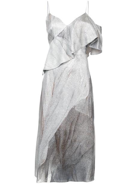 dress women silk grey metallic