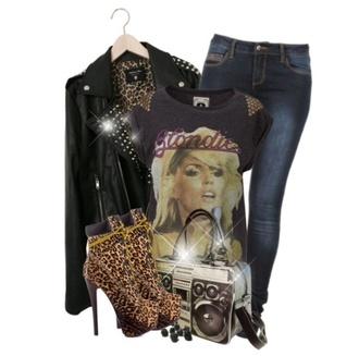 shirt black black graphic t-shirt blondie 80s style shoes bag punk rock leather jacket leopard print