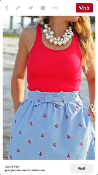 skirt anchor blue red bow