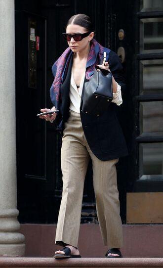 pants ashley olsen olsen sisters jacket blazer spring outfits top slide shoes blouse