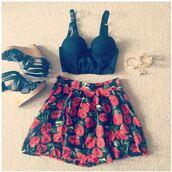skirt,flower skirt,rose skirt,floral,black heels,corset top,platform shoes,gold,gold bracelet