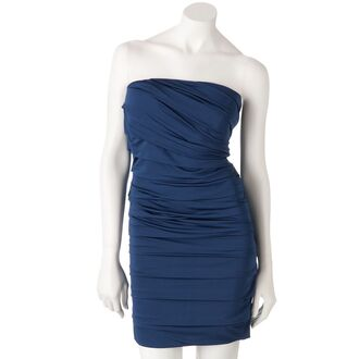 blue dress pleated strapless spandex