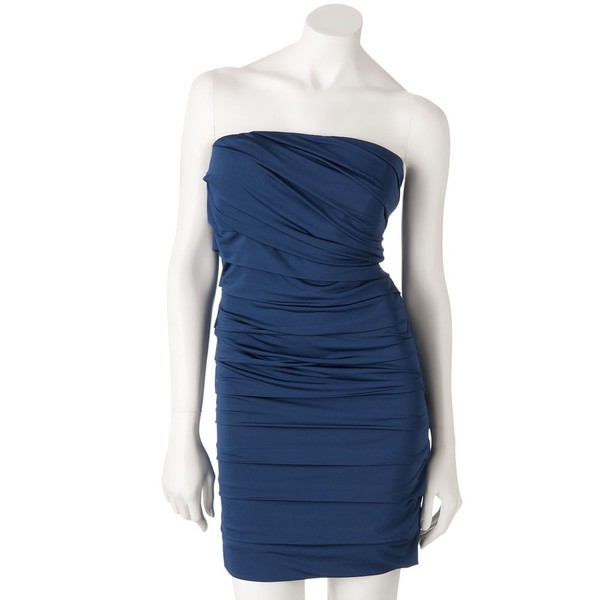 blue dress pleated strapless spandex dress