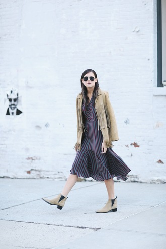 we wore what blogger optical chelsea boots fringed jacket striped dress
