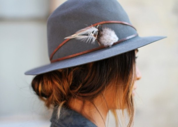 hat grey feathers