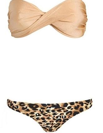swimwear bikini print leopard print tan brown