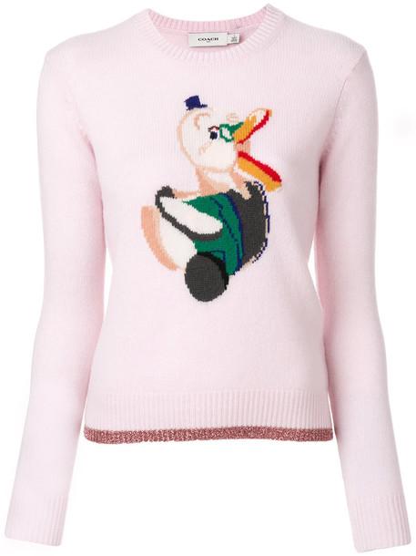 coach jumper women purple knit pink sweater