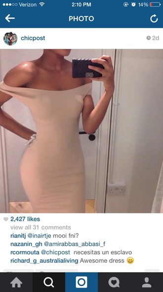 dress beige dress off shoulder shirt bodycon dress bodycon instagram