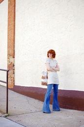 de lune,blogger,dress,jeans,bag,shoes,jewels,white dress,mini dress,short dress,flare jeans,blue jeans,fringed bag,bucket bag,white bag,glasses