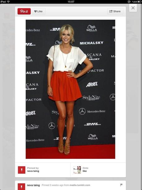 skirt clothes blouse red mini skirt red skirt mini skirt skater skirt top white top sandals nude sandals necklace red carpet