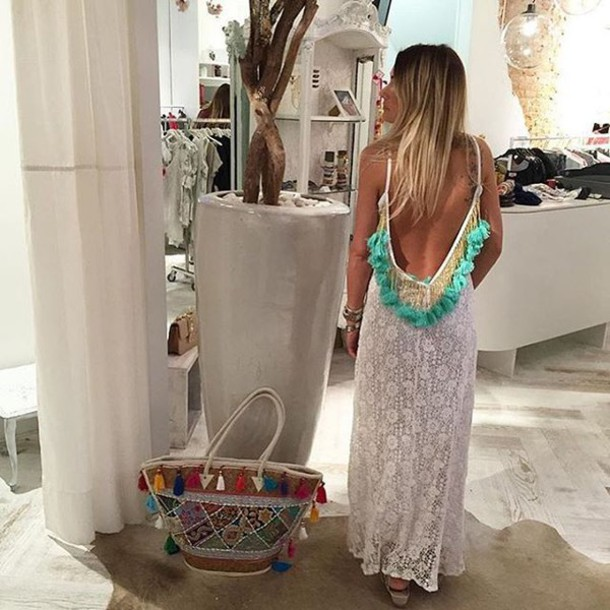 4ec70771ebf dress lovesadores summer summer dress maxi dress white turquoise beach  beach dress tassel pool party pool