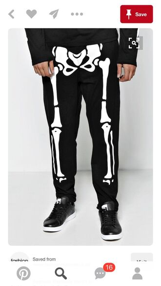 pants halloween cotton bones body casey neistat skeleton joggers halloween costume comfy pants black white