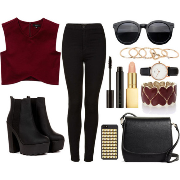 boots black shoes tumblr outfit polyvore polyvore outfit sunglasses top make up polyvore clothes accessories