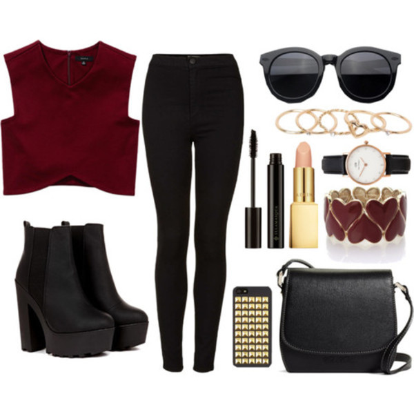 Boots Black Shoes Tumblr Outfit Polyvore Polyvore Outfit Sunglasses Top Make Up Polyvore