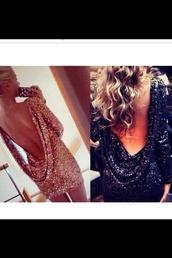 dress,celebrity style,plunge neckline,open back,open back dresses,backless dress,sparkly dress,embellished dress,beautiful,black,gold,sequins,bodycon,short dress