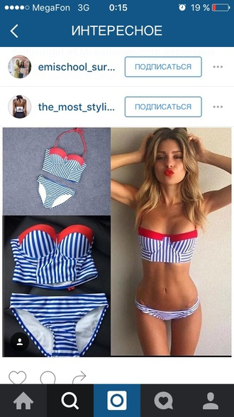 swimwear bikini striped bikini blue and white