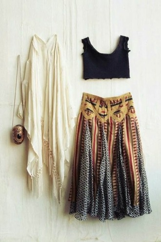 top hipster indie fashion skirt crop tops scarf bag cardigan