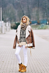 shoes,tumblr,boots,brown boots,denim,jeans,white jeans,jacket,shearling jacket,shearling,brown shearling jacket,sweater,knit,knitwear,knitted sweater,scarf,knitted scarf,infinity scarf