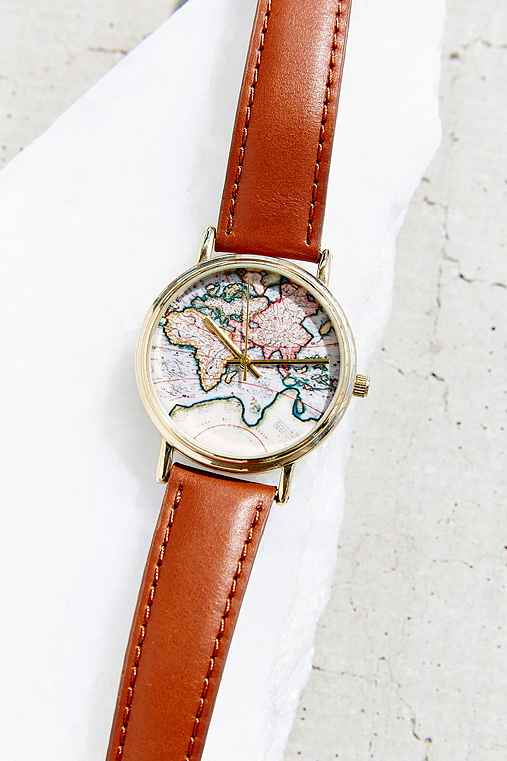 Urban Outfitters World Map Watch.Around The World Leather Watch Urban Outfitters