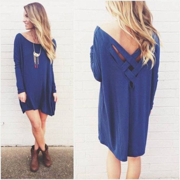 dress blue dress blue cross back dress sweater dress sweater casual off the shoulder loose oversized sweater fall outfits fall sweater streetwear streetstyle oversized loose fit sweater girly style indie college back to school warm comfy knitwear knitted sweater off the shoulder sweater rose wholesale strappy