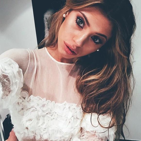 sheer blouse ruffles classy white
