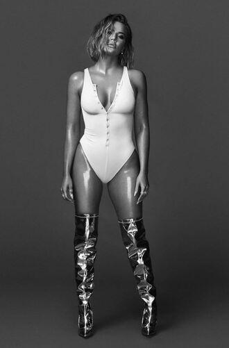 top bodysuit white white top khloe kardashian kardashians sexy boots instagram editorial celebrity shoes