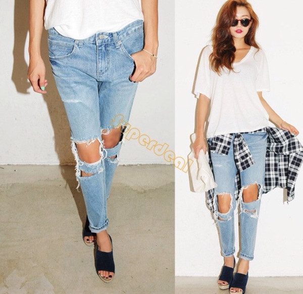 Hollow knee boyfriend jeans